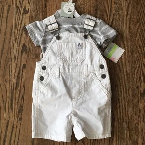 White and gray overall set- 3 month
